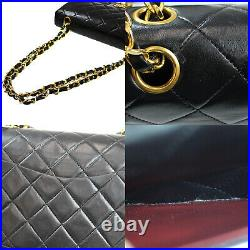 CHANEL Matelasse Double Flap Chain Shoulder Bag Black Leather Vintage Auth #Z871