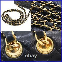 CHANEL Matelasse Mini Shoulder Bag Black Lambskin Leather Authentic #KK999 O