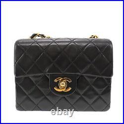 CHANEL Matelasse Small Shoulder Bag Black Lambskin Leather France Auth #KK911 O