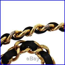 CHANEL Medallion Gold Chain Belt Black Leather Vintage 1982 France Auth #AB437 I