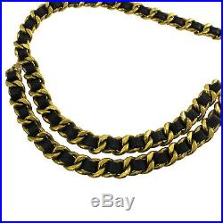 CHANEL Medallion Gold Chain Belt Black Leather Vintage 94A France Auth #BB671 M