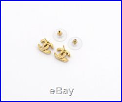 CHANEL Mini CC Logos Crystal Stud Earrings Gold & Blue Rhinestone 01P v727
