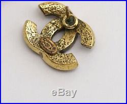 CHANEL Mini CC Logos Stud Earrings Gold & Purple Rhinestone withBOX v1168