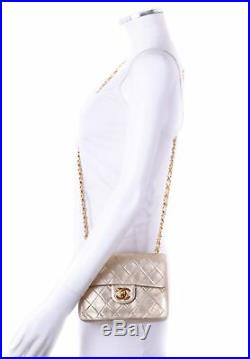 CHANEL Mini GHW Gold Quilted Leather Chain CC Classic Flap Shoulder Bag Purse