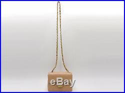 CHANEL Mini Matelasse 17 Single Flap Chain Shoulder Bag Lambskin Beige Gold 2498