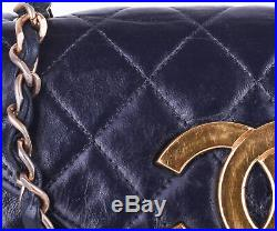 CHANEL Navy Blue Mini Flap Leather 24K Gold Jumbo CC GHW Crossbody Shoulder Bag