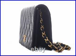 CHANEL Navy Leather Rectangular Mini Classic Flap 24K Gold CC Shoulder Bag