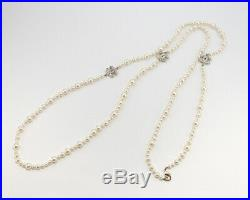 CHANEL Pearl Chain Necklace 61 Silver tone CC Logos withBOX