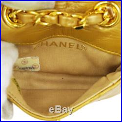 CHANEL Quilted CC Chain Mini Hand Bag Pouch 2308765 Purse Gold Leather AK39587
