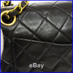 CHANEL Quilted CC Double Flap Chain Shoulder Bag 3283785 Black Leather AK37967a