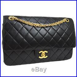 CHANEL Quilted CC Double Flap Chain Shoulder Bag Black Leather Vintage JT08603