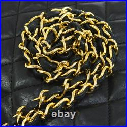 CHANEL Quilted CC Single Chain Shoulder Bag Black Leather Vintage AK35517c