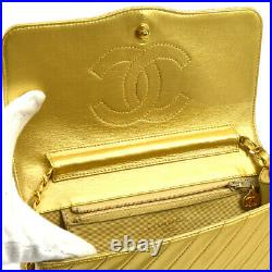 CHANEL Quilted CC Single Chain Shoulder Bag Gold Leather Vintage AK33260f