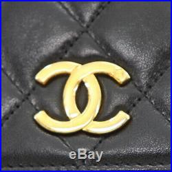 CHANEL Quilted Matelasse Chain Shoulder Bag Black Leather Vintage Auth #Q84 W