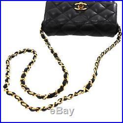 CHANEL Quilted Matelasse Chain Shoulder Bag Black Leather Vintage Auth #Z770 I