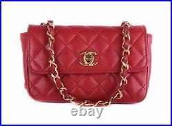 CHANEL Red Leather Rectangular Mini Classic Flap 24K Gold CC Crossbody Bag