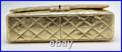 CHANEL Reissue 225 Double Flap Bag Quilted Gold Chain Distressed Leather Handbag