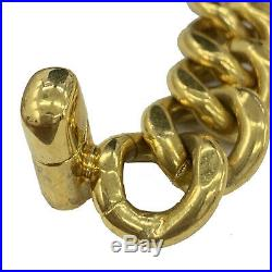 CHANEL Turn Lock Chain Necklace Choker Gold 96P France Vintage Authentic #FF529