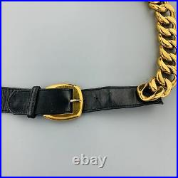 CHANEL Vintage 1990's Gold Tone Chunky Curb Chain & Black Leather Belt