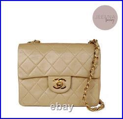 CHANEL Vintage BEIGE Clair Classic Mini Square Flap Bag 24k Gold Hardware