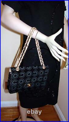CHANEL Vintage Black COCO Pony HaIr Flap Handbag with Peach Lamb Lining Gold HW