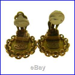 CHANEL Vintage CC Logos Gold Button Earrings Clip-On 0.7 Authentic AK31400j