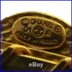 CHANEL Vintage CC Logos Hair Comb Gold France Accessories BT16409d