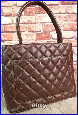 CHANEL Vintage CC Medallion Dark Brown Quilted Caviar Tote