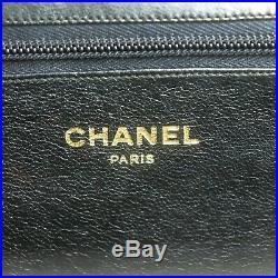 CHANEL Vintage Chain Shoulder Bag Purse Black Leather Gold Hardware