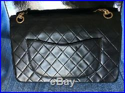 CHANEL Vintage Double Flap Quilted CC Logo LAMBSKIN WithGold Chain Shoulder BAG