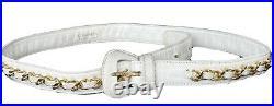 CHANEL Vintage White Waist/ Belt Bag 24k Gold HW