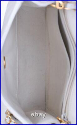 CHANEL White Leather Square Mini Classic Flap 24K Gold CC Crossbody Bag