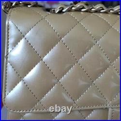 CHANEL double Flap Classic Medium beige patent bag gold hardware