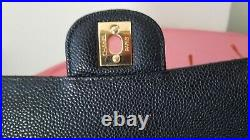 CHANEL double Flap Classic Medium black caviar bag gold hardware
