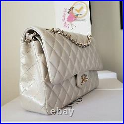 CHANEL double Flap Classic Medium irridescent gold coated canvas bag gold hw
