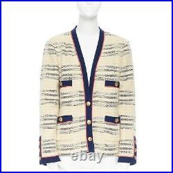 CHANEL vintage ecru navy blue pink 4 pockets cardigan jacket 13 gold buttons