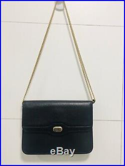 CHRISTIAN DIOR Bag Vintage Black Shoulder Bag With Gold Chain