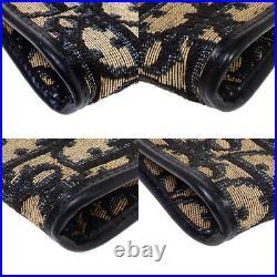 CHRISTIAN DIOR Trotter Clutch Hand Bag Canvas Blue Gold Plated France 08BU339