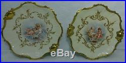 COIFFE Limoges France CUPIDS pattern 7-piece CAKE or DESSERT SET heavy gold