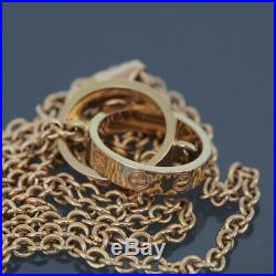 Cartier 18k Rose Gold Baby Love Pendant Necklace With The Certificate & Box
