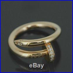 Cartier 18k Rose Gold Juste Un Clou Diamonds Ring With Service Receipt & Box 49