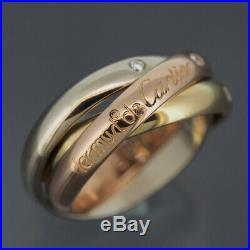 Cartier 18k Tri Color Gold Trinity Ring With 3 Diamonds Size 52 With Box