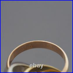 Cartier 18k Tri-color Gold 3 Bands Trinity Rolling Ring 53 Us 6.25 With Box