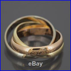 Cartier 18k Tri-color Gold 3 Bands Trinity Rolling Ring 55 Us 7.0 With Box
