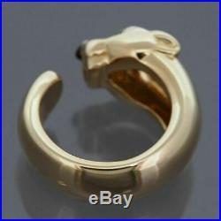 Cartier 18k Yellow Gold Panther Massai Ring With Tsavorite Garnet And Onyx