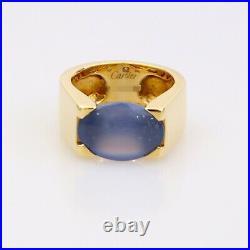Cartier 18k Yellow Gold Tankissme Chalcedony Ring Size EU 52 UK L1/2 US 6