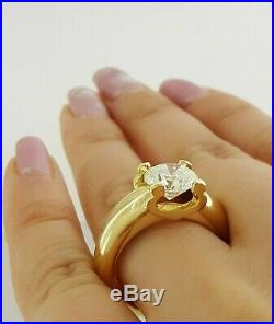 Cartier 2.51 ct 18K Yellow Gold Round Cut Diamond Solitaire Engagement Ring GIA