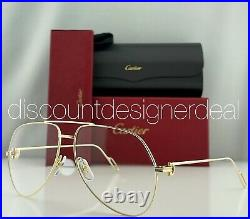Cartier Aviator Eyeglasses CT0116O Yellow Gold Frame Clear Demo Lens 60mm NEW