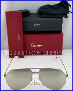Cartier Aviator Sunglasses CT0110S 007 Yellow Gold Frame Gold Mirror Lens 62mm