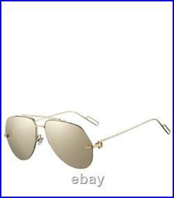 Cartier Aviator Sunglasses CT0170S 003 Solid 18K Yellow Gold Polarized Flash 62